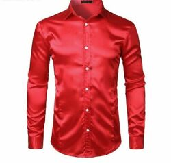 Weddings Groom Menand039s Dresses Shirts Fit Solid Silk Satin Long Sleeve Button Down