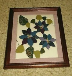 Japanese Kimono Patchwork Quilt Art Framed Wall Hanging 13x 11