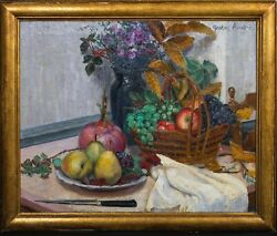 Early 20th Century French Still Life Fruit And Flowers Gaston Andre 1884 - 1970