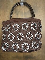 Vintage 1990s Ooak Crocheted Brown Purse W/soda Can Pull Tabs And Double Handles