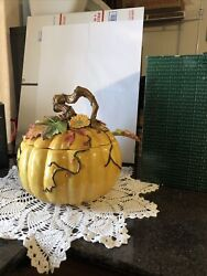 Rare Fitz And Floyd Large Harvest Heritage Pumpkin Soup Tureen With Ladle And Box