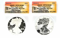 2012 S Silver Eagle 2 Coin Anacs Rp70 Dcam First Releases Us Set Reverse Proof