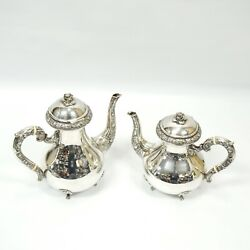 Lot Of 2 Sterling Silver Tea And Coffee Pots .925 Gr Engraved Sterling