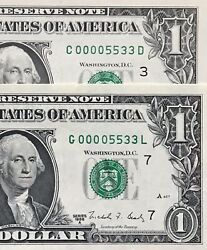 2 Unc 1988 A 1 Bill Matching Serial Number Andldquo00005533andrdquo Fancy Low 4 Digit Gem