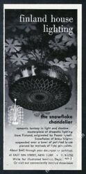 1954 Paavo Tynell Snowflake Chandelier Photo Finland House Lighting Print Ad