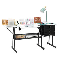 Folding Sewing Table Computer Desk Shelves Storage Drawers W/ 3 Drawer And Shelves