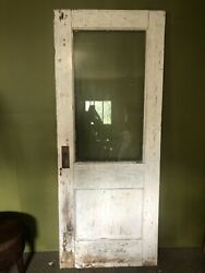 Antique Vintage Wood Door With Glass Salvage Chippy Farmhouse Wedding