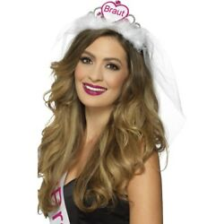 Braut Tiara Pink And White Ladies Hen Night Accessory Crown And Veil