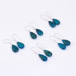 925 Sterling Silver Earring Jewelry 100 Natural Blue Chrysocolla Fast Free Ship
