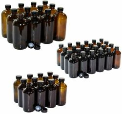 24 Pack 4 Oz., 12 Pack 8 Oz., And 12 Pack 16 Oz. Amber Glass Bottles Cap