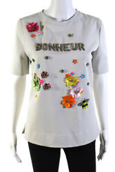 Gem Womens Short Sleeve Boat Neck Embroidered Crystal Bonheur Top Gray Small