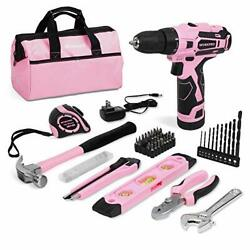 Workpro 12v Pink Cordless Drill And Home Tool Kit, 61 Pieces Hand Tool For Diy