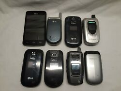 Lot Of 8 Vintage Flip Phones For Parts Some Work Used Samsung And Lg Verizon