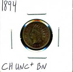 1894 1c Indian Head Cent In Choice Uncirculated+ Condition Brown 04772
