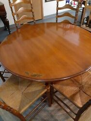 L. Hitchcock Maple Harvest Pedestal Table With 6 Ladder Back Rush Chairs