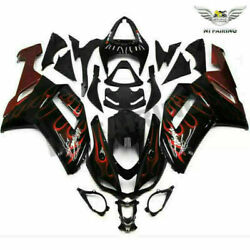 Ms Injection Red Flame Fairing Fit For Kawasaki 2007 08 Zx-6r Zx6r 636 Abs Y019