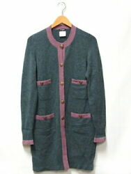 Previously Owned Cardigan Knit Long Coco Mark Button Sleeve No.5845