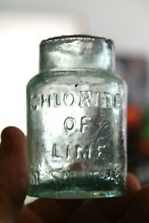 Antique 3'' Blue, Chloride Of Lime, Sheared Poison Bottle, London, Item A-2889