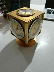 Antique Angelus Swiss Brass Table Clock Weather Station Hour Lavigne 8 Day