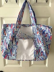 Nwt Lilly Pulitzer Set Red Right Return Canvas Tote And Matching Sun-glass Case