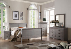 Acme Louis Philippe Iii Queen Bed In Antique Gray Finish 25500q