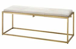 Jamie Young Shelby Bench In White Hide And Antique Brass Metal 20shel-bewh