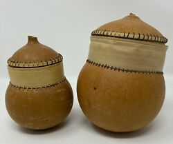 Set Of 2 West Africa Mali Dairy Container Carabara From Gourd And Palm Bark