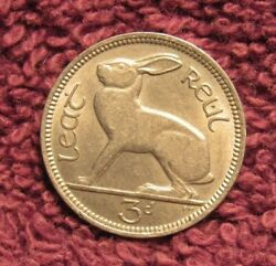 1964 Ireland 3d Three Pence Eire Leat Ruel Beautiful Coin   K
