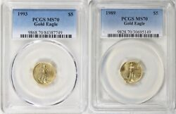 1989 And 1993 5 Gold Eagle Pcgs Ms70 Low Pop Low Mintage 2 Coin Set