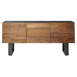 Zimlay Contemporary Natural Wood Sideboard With 2 Cabinets And 3 Drawers 74231