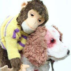Old Schuco Tricky Yes No Monkey Mechanically With Hermann Dog On Wheel Old Teddy
