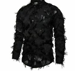 Stage Party Men Shirts Sexy Feather Floral Star Clubwear Viscose Polyester Dress