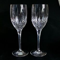 2 Two Mikasa Arctic Lights Cut Lead Crystal Water Goblets -discontinued
