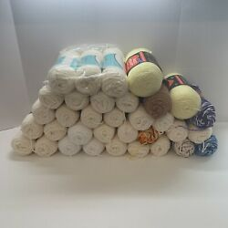 Huge Lot Of 80 Crochet Yarn Different Brands Most Vintage New See Pics Red Heart
