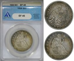 Usa 50 Cents 1858 Silver Anacs Ef45 Nice Eye-appeal