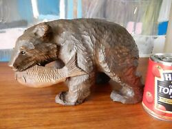 Antique Japanese Flat Hand Carved Bear And Salmon Figure C1900-1920, Hand Signed