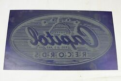 Vintage Capitol Records Sheet Metal Printing Press Plate Template - 13 X 7