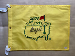 Phil Mickelson Signed Masters Flag 2004 Beckett Certificate Of Authenticity