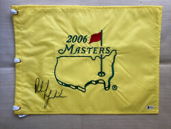 Phil Mickelson Signed Masters Flag 2006 Beckett Certificate Of Authenticity