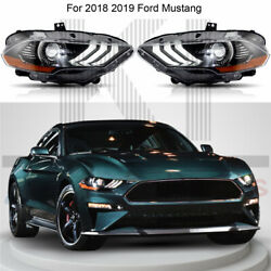 Pair Lh And Rh Drl Dual Beam Front Lamps Led Headlights For 2018 2019 Ford Mustang