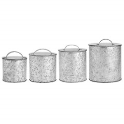 Amici Home Newport Galvanized Silver 30-56-102 And 156 Oz Metal Storage Canisters