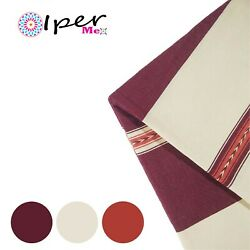 Exclusive Mexican Handmade Tablecloth Of Natural Cotton In Red Wine With Natural
