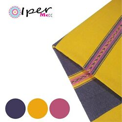 Exclusive Mexican Handmade Tablecloth Of Natural Cotton In Grape With Yellow
