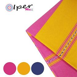 Exclusive Mexican Handmade Tablecloth Of Natural Cotton In Pink With Yellow