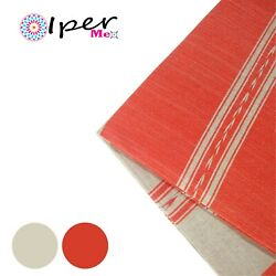Exclusive Mexican Handmade Natural Cotton Tablecloth In Orange With Gray