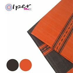 Exclusive Mexican Handmade Tablecloth Of Natural Cotton In Chocolate With Orange