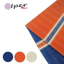 Exclusive Mexican Handmade Natural Cotton Tablecloth In Blue With Orange