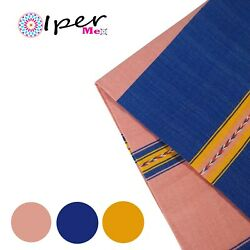 Exclusive Mexican Handmade Natural Cotton Tablecloth In Blue With Mamey