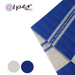 Exclusive Mexican Handmade Tablecloth Of Natural Cotton In Blue With Gray Color