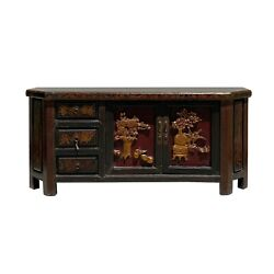 Chinese Distressed Brown Golden Flower Motif Tv Console Table Cabinet Cs6127